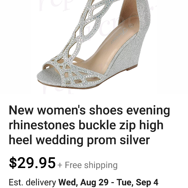 Beautiful Silver Glitter Wedges Size 7
