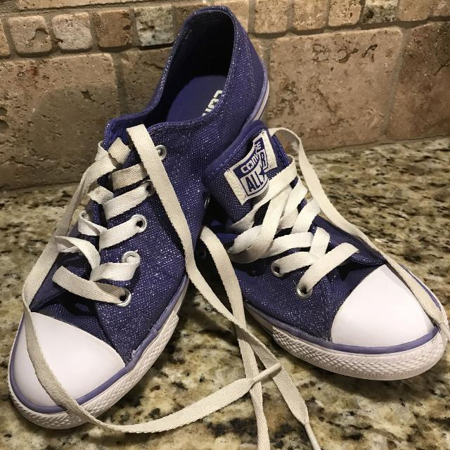 2a8394dcba42 Find more Girls Purple Sparkly Converse for sale at up to 90% off