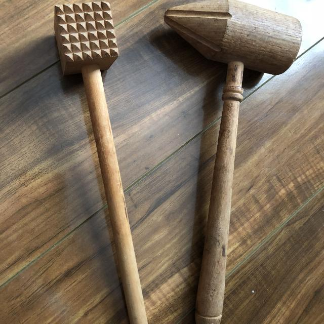 11 And 12 Vintage Wooden Meat Tenderizers