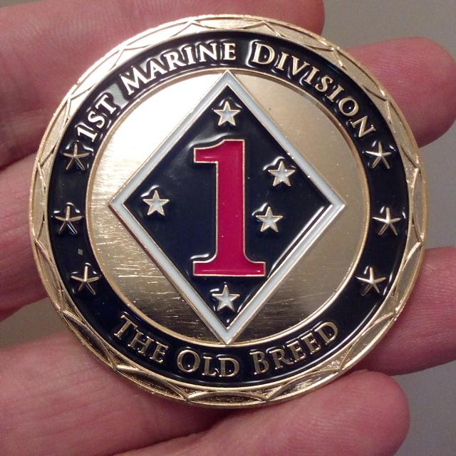 LARGE 50mm 1st MARINE DIVISION THE OLD BREED OFFICIAL CHALLENGE COIN