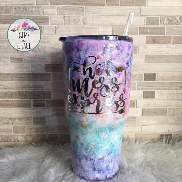 Hot Mess Express 30oz SWIG Insulated stainless steel tumbler - Hand Painted