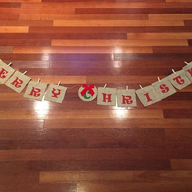 burlap banner merry christmas approximately 100 long letters are 6x6 - Merry Christmas Burlap Banner