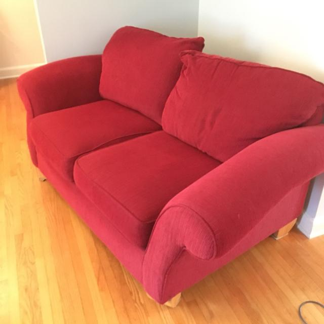 Red fabric couch & loveseat