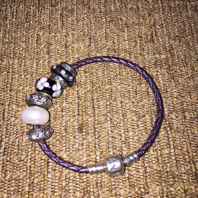 Real Pandora Leather Bracelet Including The Charms On Pic Not