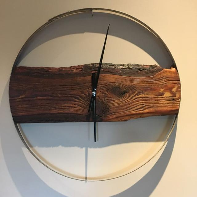 Find More 23 Live Edge Clock Mounted On A Wine Barrel Ring For Sale