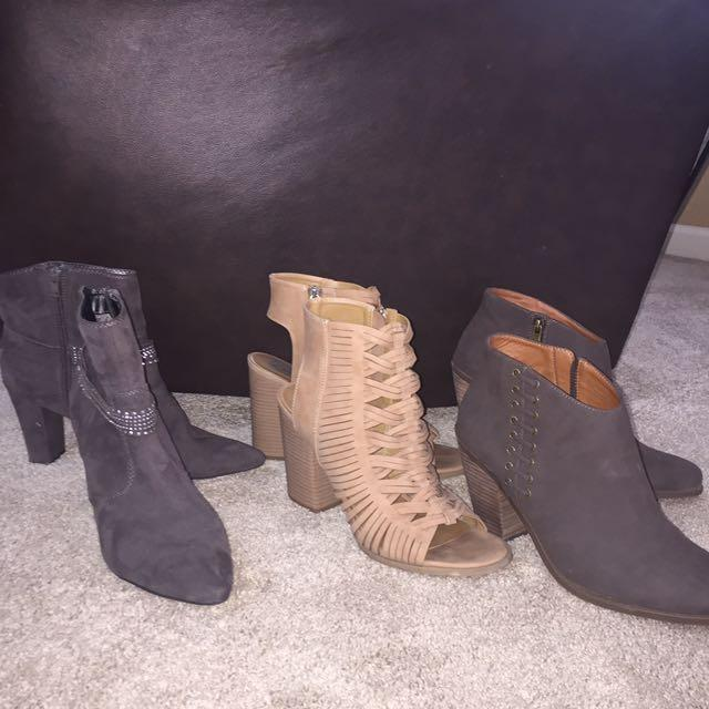 20ff088da6b Lot of (3) size 11 ankle boots with 1 pair open toed.All pairs worn once  but heels are too high for my old , broken down feet. See below