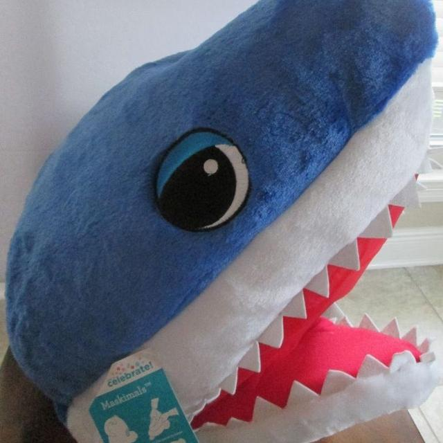 Great White Shark Mask Head Mascot Halloween Costume Plush Furry Maskimals