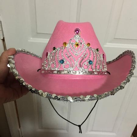ff451656eef09 PINK - COWGIRL HAT WITH ATTACHED CROWN AND SEQUINS. 💥STIFF   STURDY - NOT