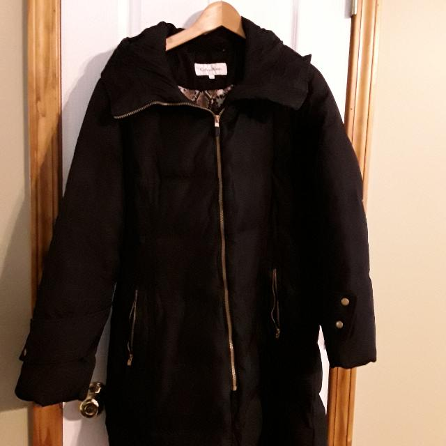 f5edbe6cb8f Find more Calvin Klein Black Duck Down Feather Filled Coat No Hood ...