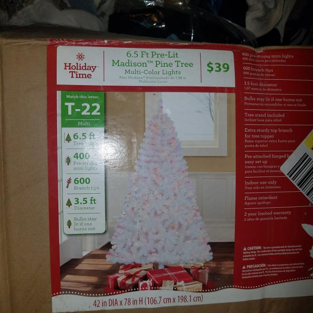 Brand New White Pre Lit Christmas Tree 6 5ft Tall Multi Colored Lights