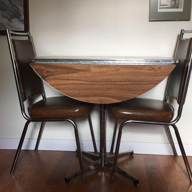 Vintage Chrome Apartment Size Table and 2 Chairs