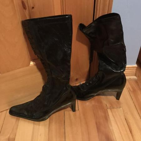 Black patent boots for sale  Canada