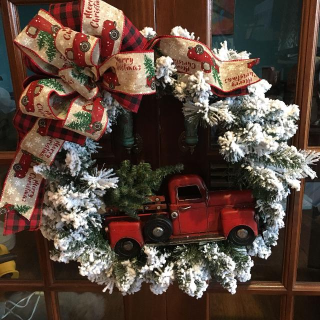 Find More New Flocked Christmas Wreath With Red Truck For Sale At Up To 90 Off