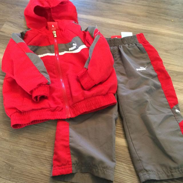 red and gray outfit