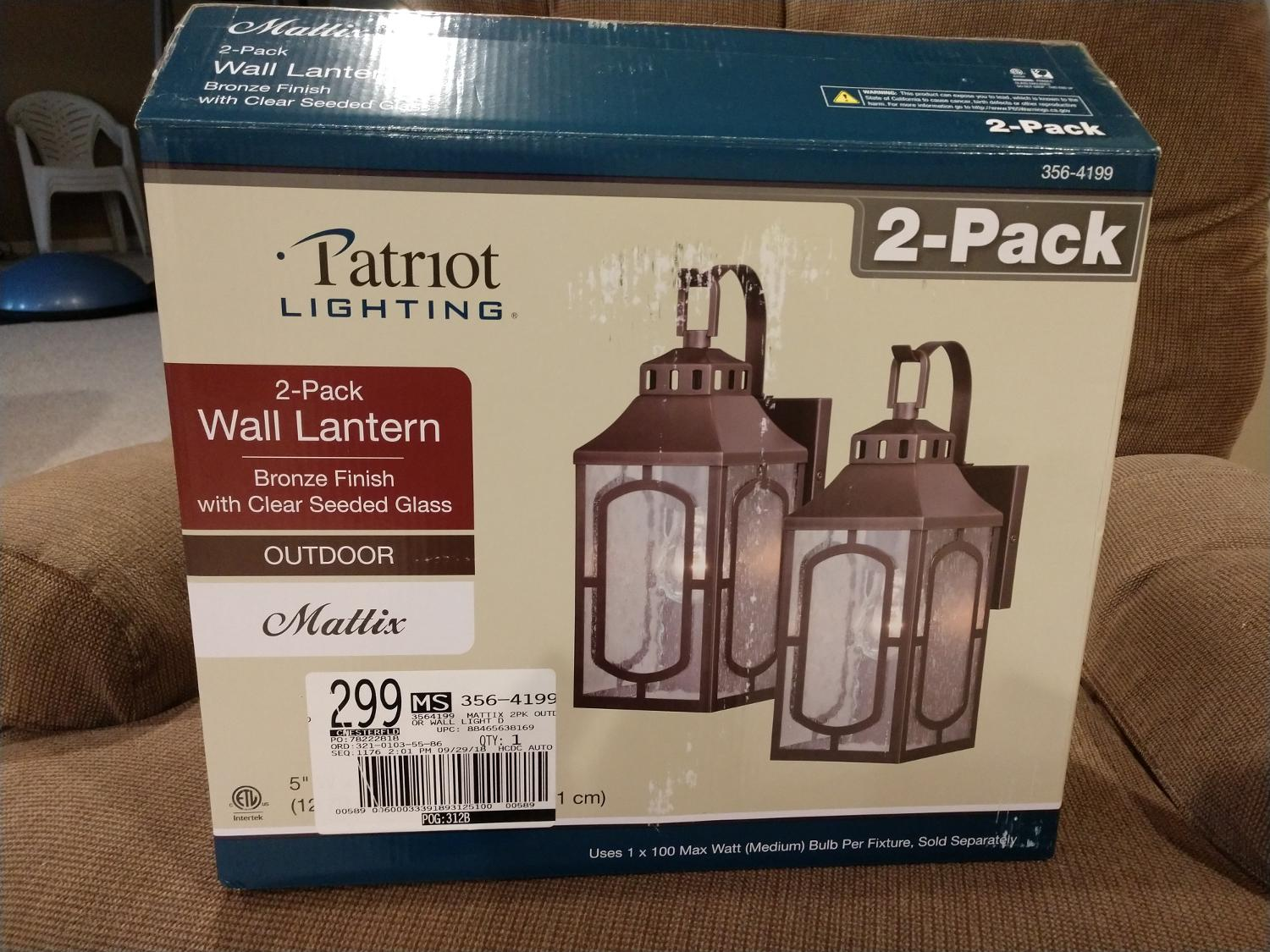 One outdoor light fixture
