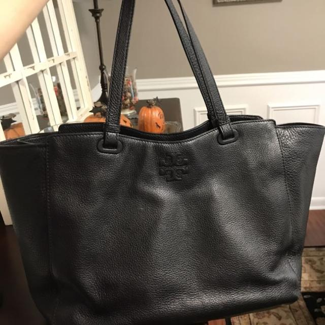 8a29342aa456 Find more Tory Burch Thea Black Leather Baby Bag Tote for sale at up ...