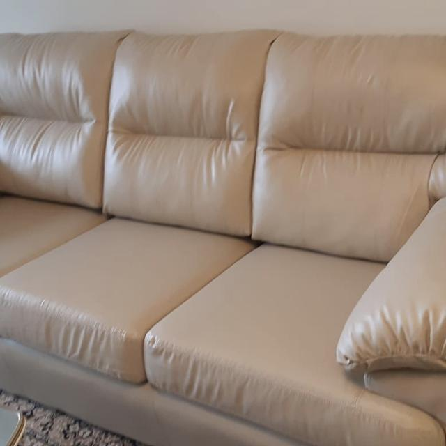 Best Faux Leather Cream Color Sofa for sale in Mississauga, Ontario ...