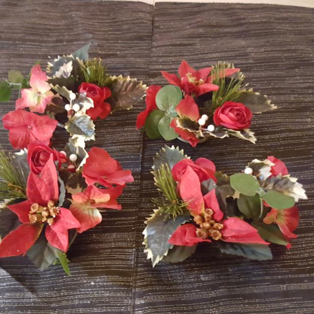 Christmas Candle Rings.Set Of 4 Christmas Candle Rings Or Decorations For Wreath