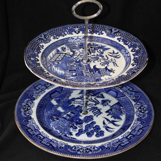best blue and white 2 tier cake stand mismatch plates for sale in