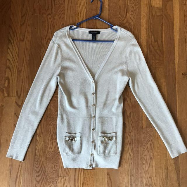 e69c38454c Find more Ladies Large White House  Black Market Tan And Gold Cardigan for  sale at up to 90% off