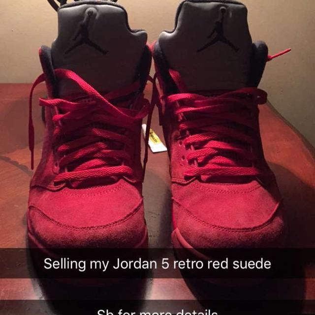 purchase cheap 6c045 33145 Jordan 5s red retro suedes