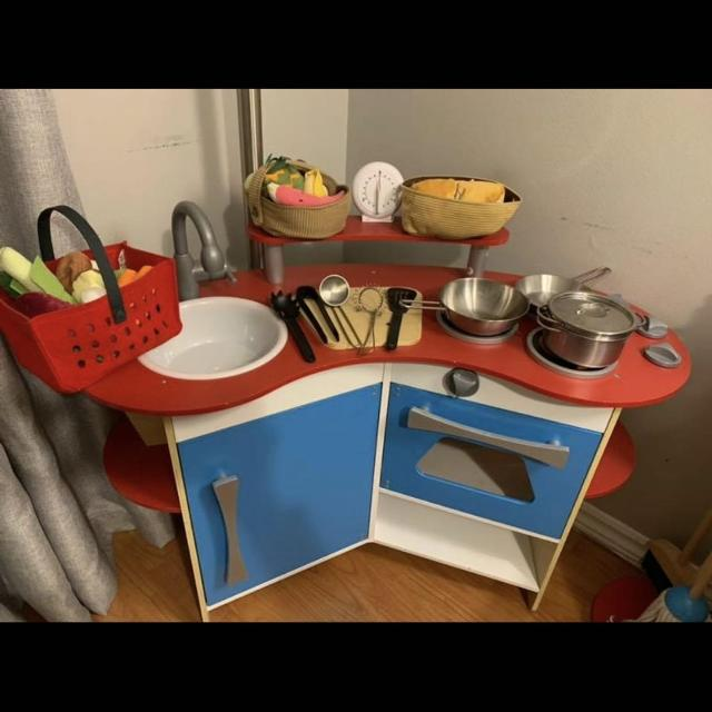 Melissa and Doug Corner Kitchen w/ Ikea Accessories