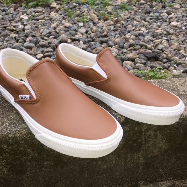 brown leather vans slip on