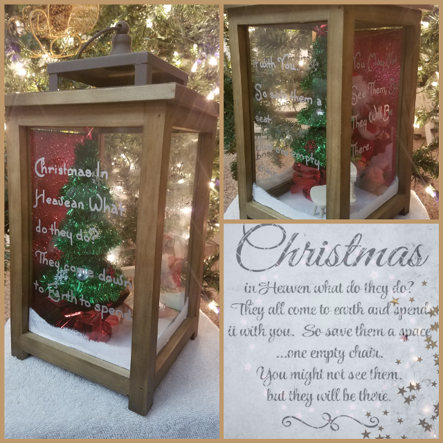 Christmas In Heaven Lantern.Hand Painted Christmas In Heaven Lantern