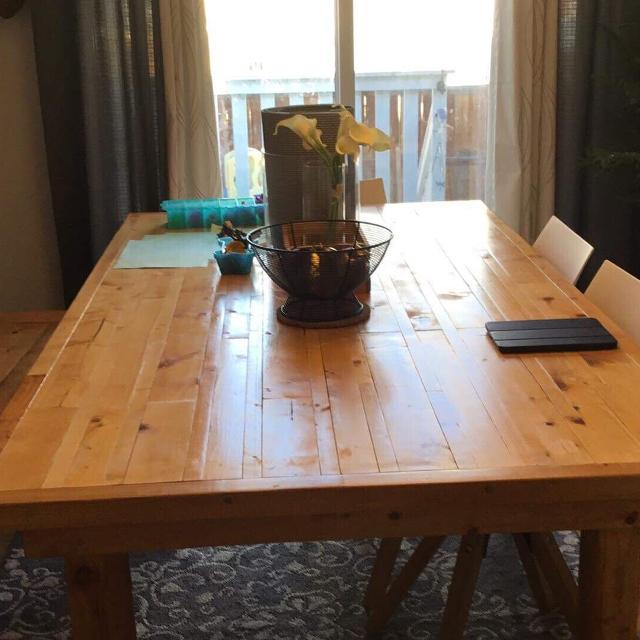 Custom-made rustic farmhouse dining/kitchen table and bench