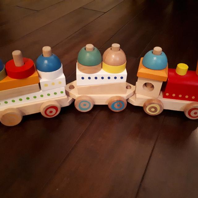Euc Wooden Toy Stacking Train