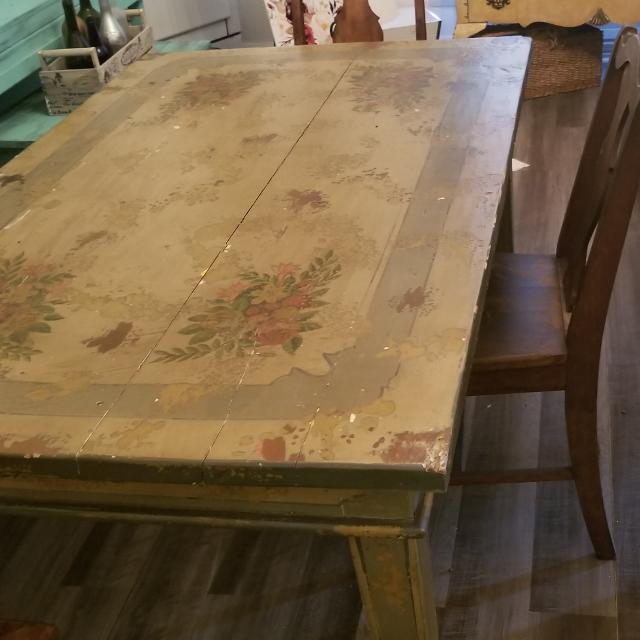 Antique Wooden Chairs >> Beautiful Handpainted Aolid Wood Table And Four Antique Wooden Chairs