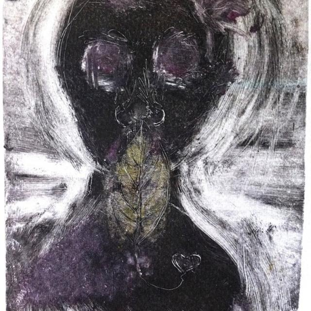 Offer to support local artists: A collagraph monotype titled