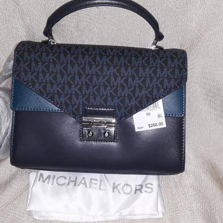 cbf7aa309816 NWT  268 Michael Kors Sloan Leather Double Flap Satchel Handbag-  Admiral Navy