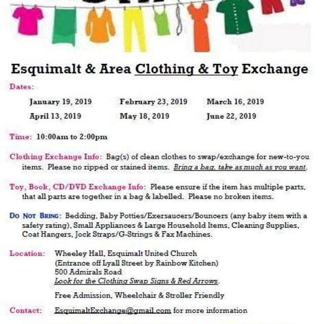 2019 Clothing Exchange Dates in Victoria, British Columbia