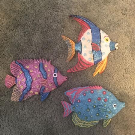 3 ornamental wall hanging fish, used for sale  Canada