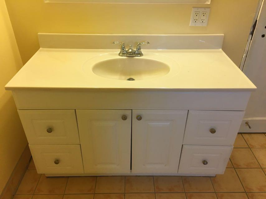 Best Used White Bathroom Vanity Sink Counter Top And Taps
