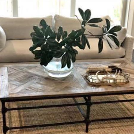 Richard Tubb Interiors large wood/iron coffee table