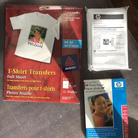 HP printer paper and T-shirt transfers ., used for sale  Canada