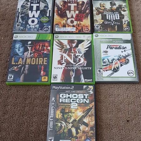 Xbox 360 and PS2 games lot for sale  Canada