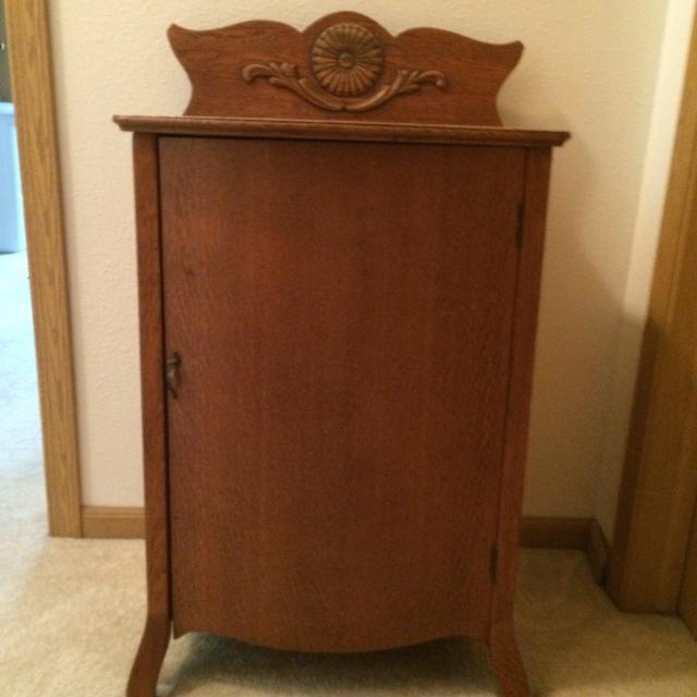 Best Antique Oak Vinyl Record Album Cabinet For Sale In Lake Geneva