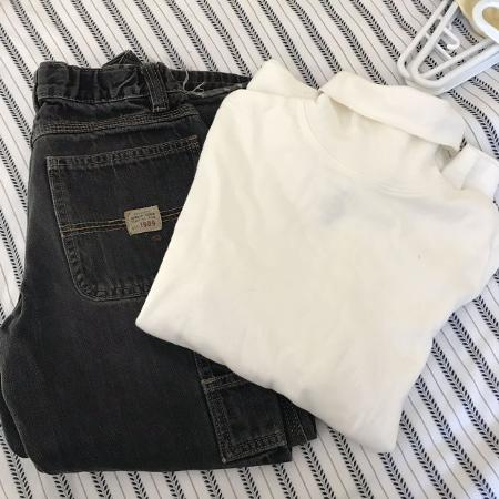 6474f296e56a Children s Place painters pants and white turtleneck top