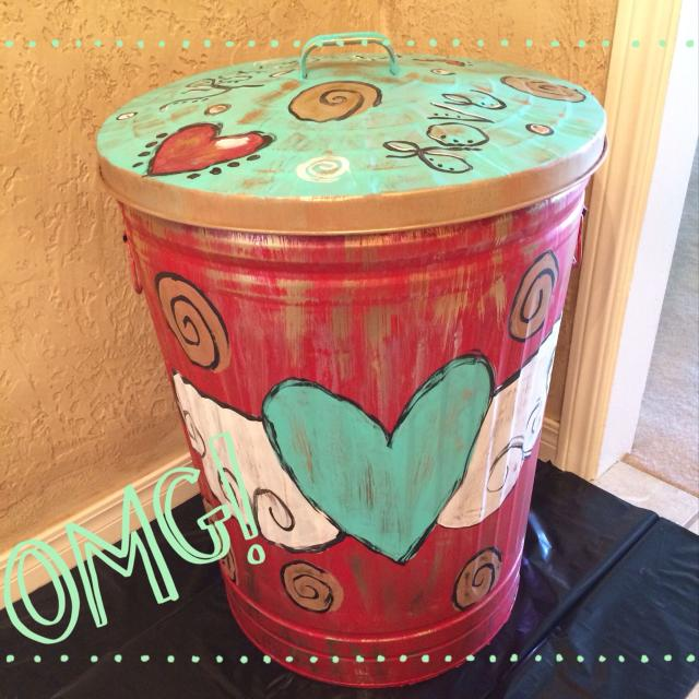 Now Taking Custom Orders For Hand Painted Trash Can Or Laundry Hamper These Would Be