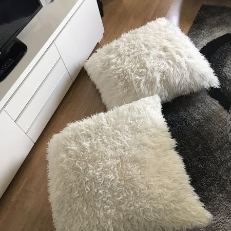 2- large faux fur floor cushions for sale  Canada