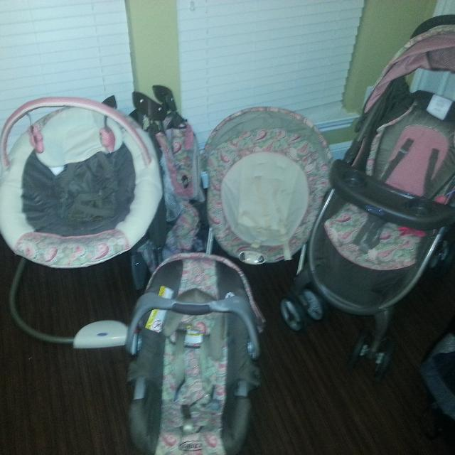 Graco Jacqueline Swing Stroller Travel Bassinet Car Seat And Bouncer