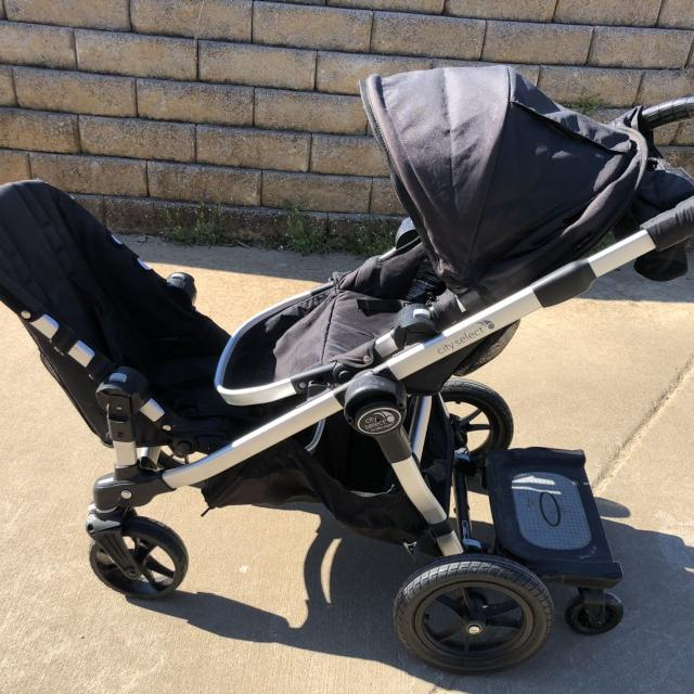 City Select Baby Jogger Double Stroller With Glider Board And Bassinet