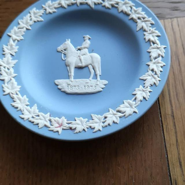 Wedgwood Blue Jasperware Trinket Dishes Man On Horseback Pin Ring Dish Made In England Jasper Ware