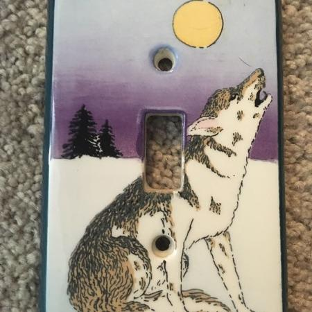 Wolf/Coyote light switch cover for sale  Canada