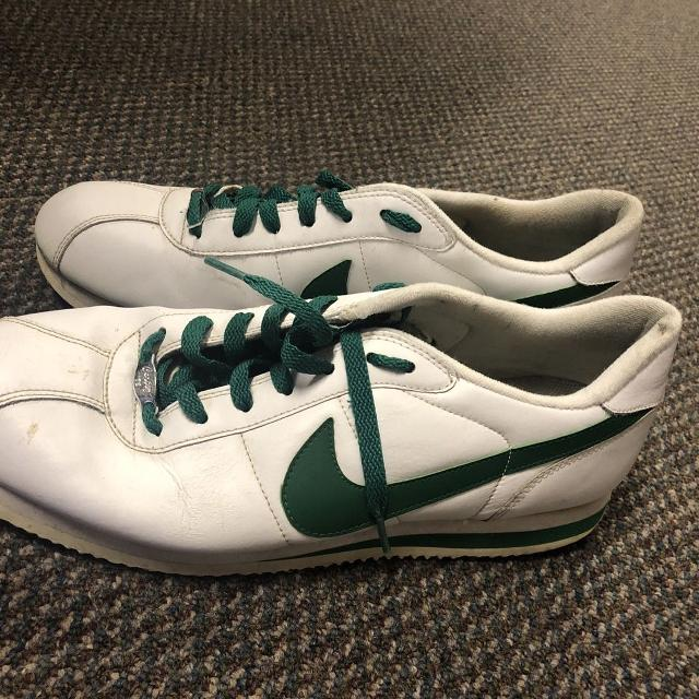 online retailer 24d5a f8214 Nike Cortez Basic Leather '6 white with green trim and shoes laces. Good  condition size 11.5