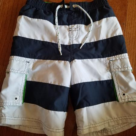 4c43447b49 EUC BOY'S Navy Blue and White Striped Swim Shorts with double pockets. Size  Small (