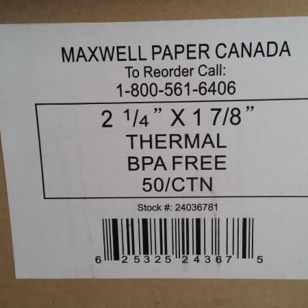 THERMAL - BPA-free paper, used for sale  Canada